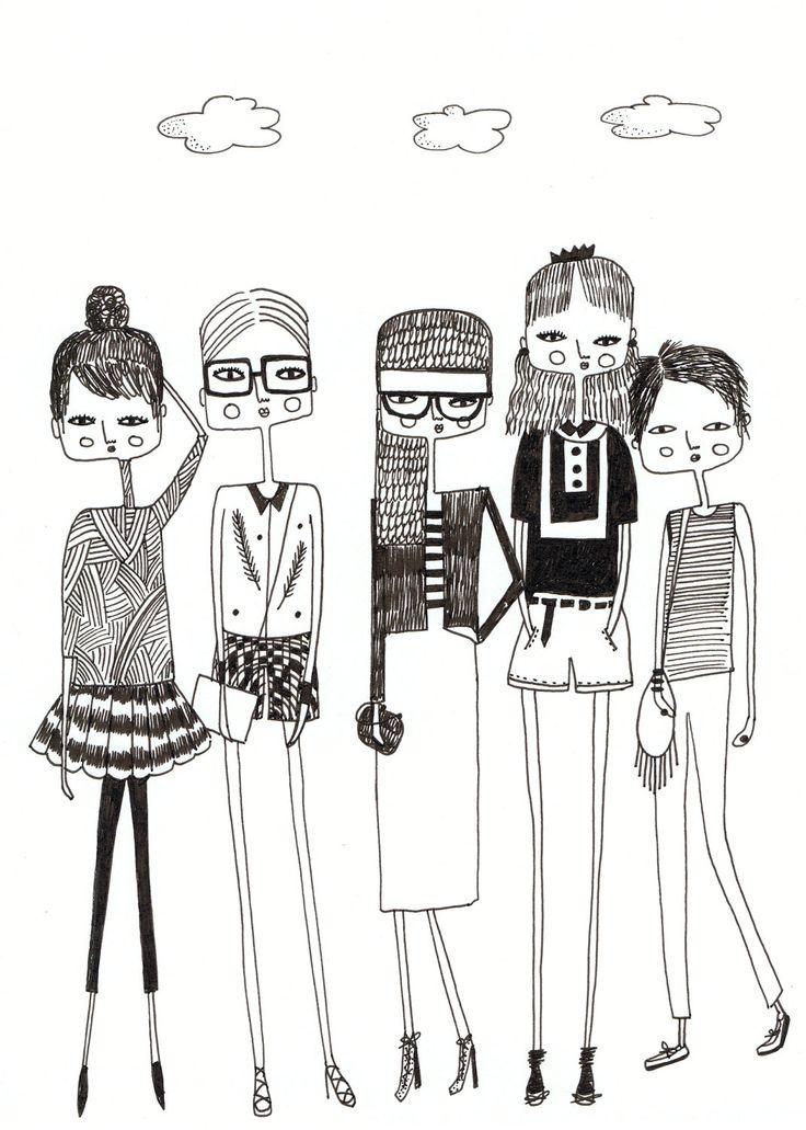 Fashion illustration, quirky girls