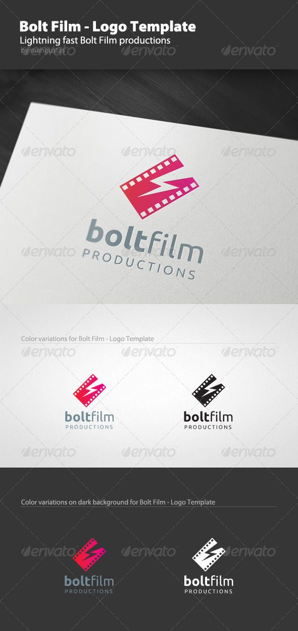 Bolt Film - Logo Template #GraphicRiver Bolt Film logo template is for versatile film production company or powerful cinema blog. 100% Editable & Resizable The logo is layered and created from 100% vector shapes (resizable). All text is editable. Any fonts used are free to use, full details of how to get the font is included in the download zip. Print and Web Ready All my logos are created in CMYK color format, to ensure that your logo will remain consistent in print and also for use on the…
