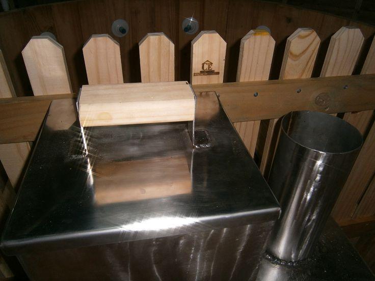 Calefactor a leña de tina caliente en madera construexpress