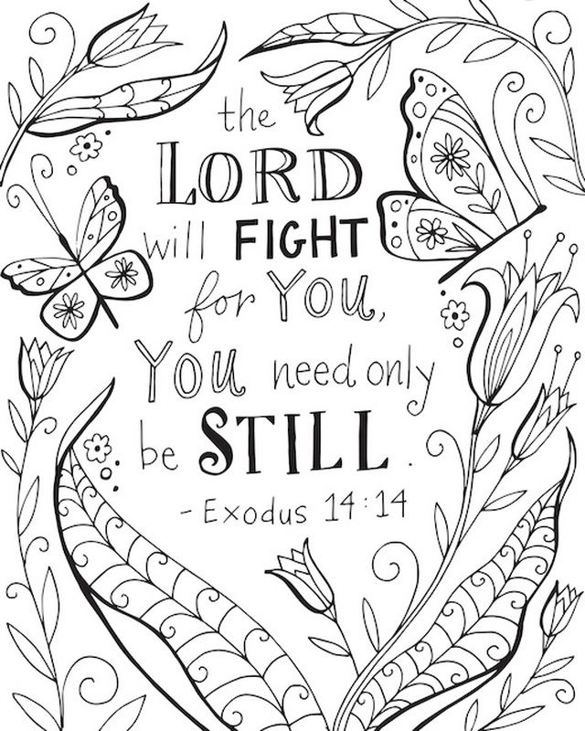 Bible Verse Exodus 14 14 With Tulips And Butterflies Bible
