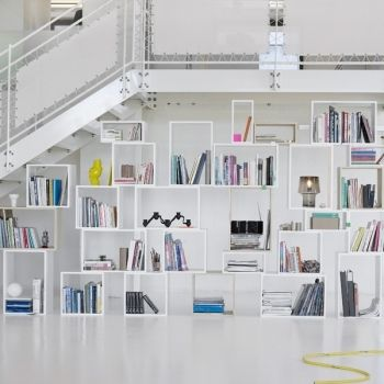 Stacked shelf from Muuto. Pieces come in three different sizes that you can combine any way you like.