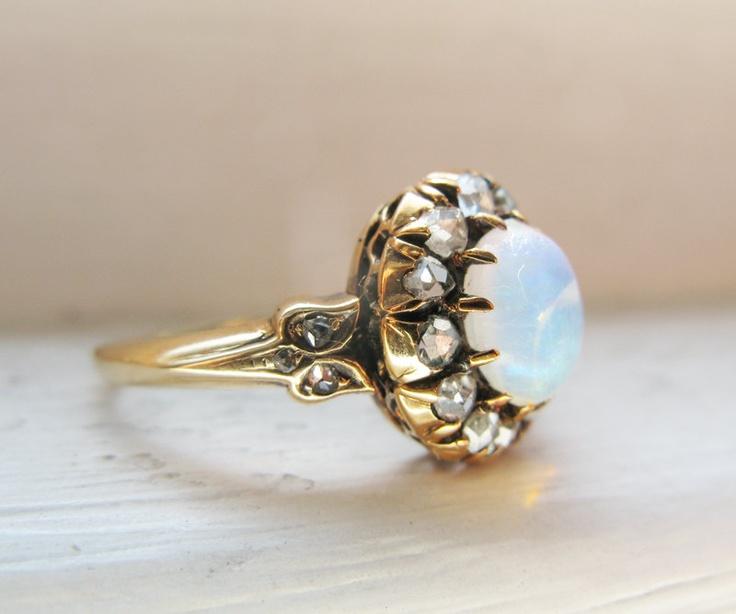 Victorian Opal & Rose Cut Diamond 18K Yellow Gold Engagement Ring. $699.00, via Etsy.