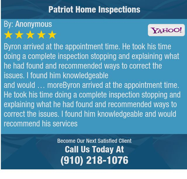 Byron arrived at the appointment time. He took his time doing a complete inspection...