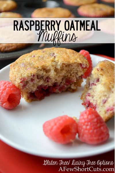 Healthy and delcious! These simple Raspberry Oatmeal Muffins can be made gluten free & dairy free! Such a great recipe to have!