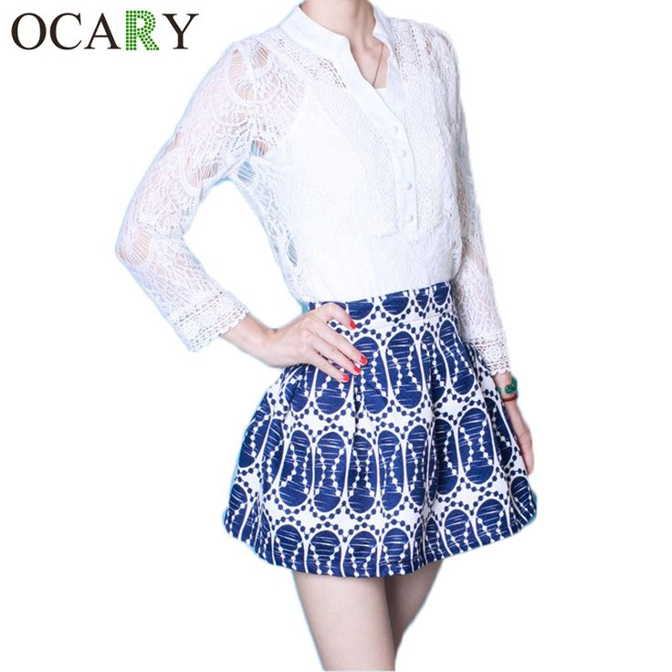 New 2016 Summer Fashion Women Clothes set Tops Skirts White Lace Chiffon Blouse Pleated Print High Waist Skirts Womens Work Wear *** This is an AliExpress affiliate pin.  Locate the offer on AliExpress website simply by clicking the VISIT button