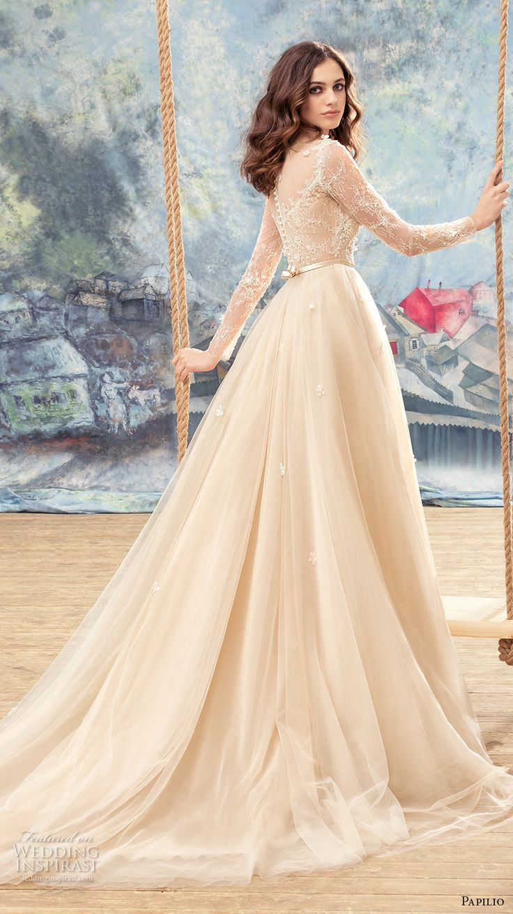 papilio 2017 bridal long sleeves sheer bateau sweetheart neckline heavily embellished bodice ivory color romantic a line wedding dress sheer back chapel train (crane) bv -- Papilio 2017 Wedding Dresses