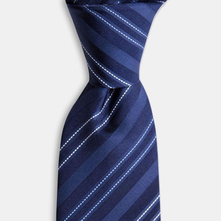 Lacivert Mavi Çizgili İpek Kravat