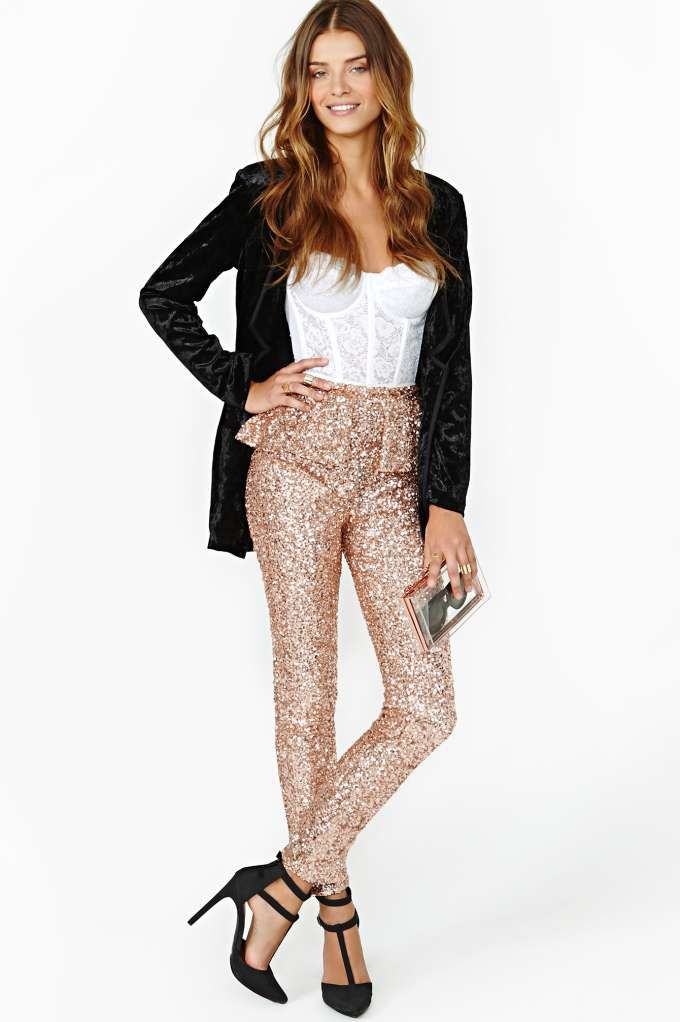 I don't care if I'd only wear them once a year. Sequins plus peplum equals my dream pants!