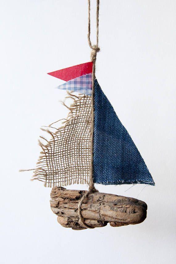 "Photo of Driftwood boat – ""Old Denim"" – beach home decor, nautical, driftwood art, rusti"