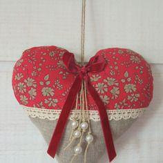 Coeur coussin de porte (n°20) liberty rouge