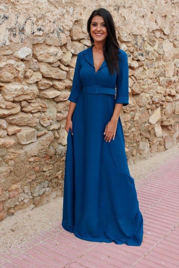 cb33a48505185 Vestido Funes Azul - Vestido largo