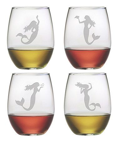 Look what I found on #zulily! Mermaid Stemless Wineglass - Set of Four #zulilyfinds