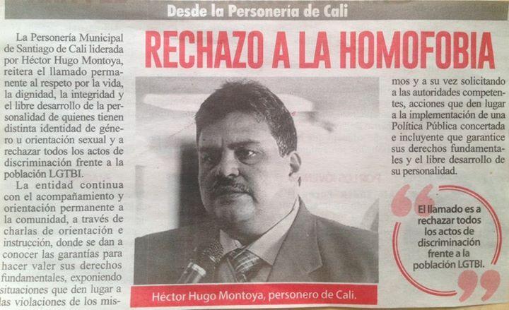 "#Prensa ""Rechazo a la Homofobia"" Vía Diario Extra Cali [Impreso] Héctor Hugo Montoya Personero Cali"