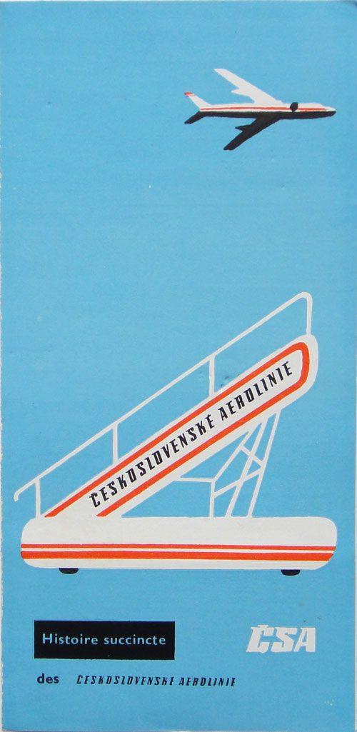 Ancien flyer Czechoslovak Airlines années 50 CSA vintage ad 50s