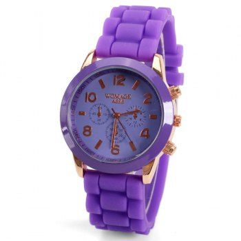 No.595 Quartz Watch 8 Arabic Number and Strips Indicate Rubber Watch Band for Women - Purple, PURPLE in Women's Watches | DressLily.com