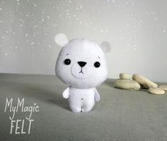 Adornos de fieltro oso polar oso blanco bosques decoraciones infantiles animales Oso Polar fieltro adornos regalo para los niños