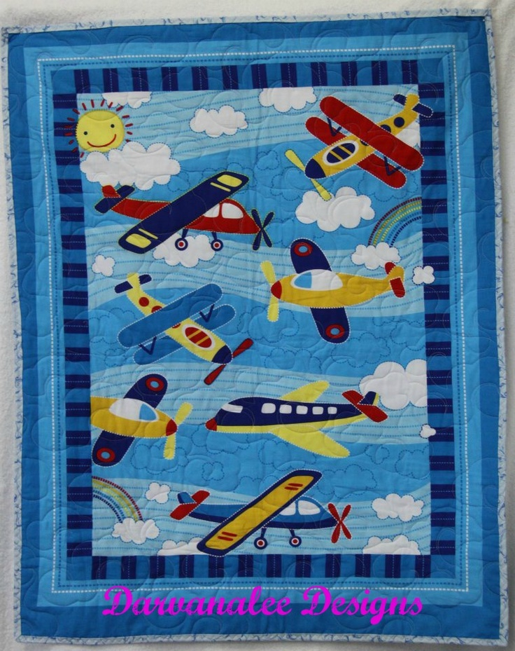 Planes with light blue binding  $70.00 plus postage   100% cotton front and back  with polyester Filling  Machine Binding to finish  Contact me @   www.facebook.com/DarvanaleeDesigns