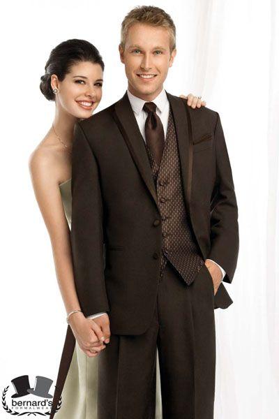 -satin trimmed fashion style #tuxedo  -mahogany brown  www.bernardsformalwear.com #bernardstux