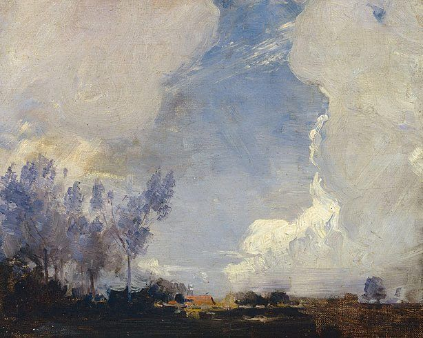 """Collection * Reproduction requests Arthur Streeton (Australia, England 08 Apr 1867–01 Sep 1943) Title Sunset landscape Year (1909) Media category Painting Materials used oil on canvas on hardboard Dimensions 24.7 x 30.5cm board; 41.5 x 46.9 x 4.6cm frame Signature & date Signed l.l. corner, incised """"A STreeToN"""". Not dated."""