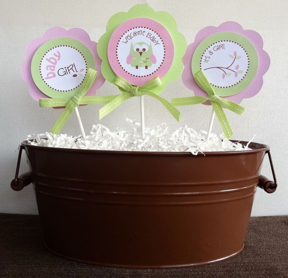 owl baby shower centerpiece sticks owl baby by partyandmore