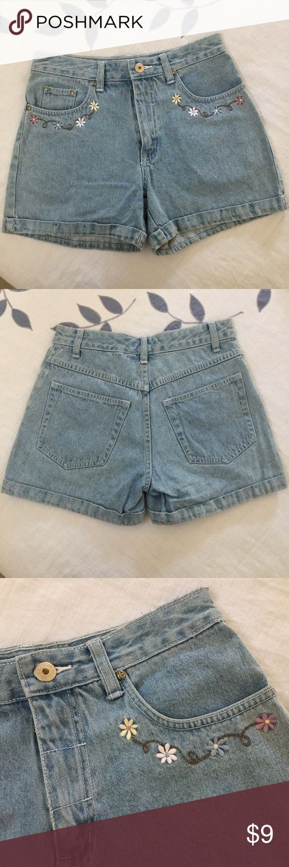 NWOT denim shorts with floral embroidery NWOT juniors shorts in a light vintage-blue denim color. Comes with adorable floral stitching under the pockets. Size 3 Xhilaration Shorts