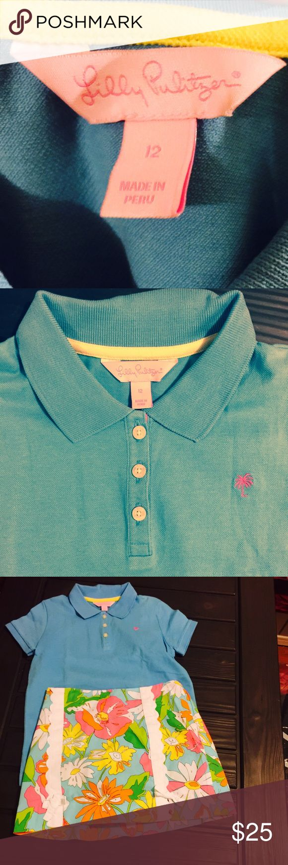 Lilly pulitzer polo Lilly pulitzer polo size 12 for  girls ladies XS mint condition new without tagsShort sleeve girls turquoise pique polo style shirt.  Has cute pink and white dot ribbon trim at shirt opening.  Pink Lilly palm tree logo. Smoke free/pet free home. (Shop and feel good about it 😁. Part of the money u spend goes to Purple Heart Foundation 💜) Lilly Pulitzer Shirts & Tops Polos