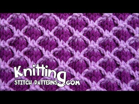 Knitting Quilted Lattice Stitch : How to knit the Two-tone Lattice stitch. This two-color slip stitch pattern i...