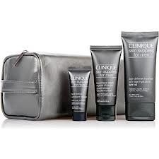 Clinique Great Skin for Him 3 Pieces Gift Set Age Defense Hydrator Spf 15 + Face Scrub + Liquid Face Wash by Clinique. $28.96. liquid face wash- regular strength 1.3oz. age defense hydrator SPF 15 1.7oz. face scrub 0.5oz. Great skin care set for him