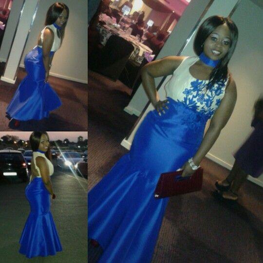 Blue and beige mermaid dress