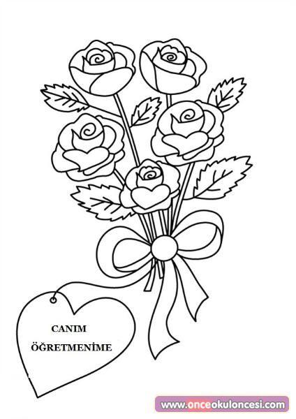 öğretmenler Günü Için çiçek Buketi Boyamaları Belirli Gün Ve