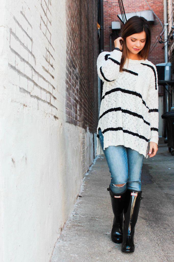 Black and White Oversized Sweater, Distressed Denim and Black Hunter Boots | Maryssa Albert Blog