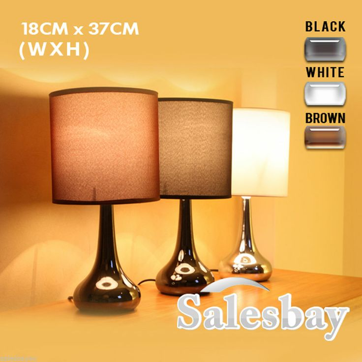 Table bedside lamp touch 18cm x 37cm with free dimmable halogren bulb 3 colours