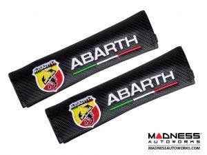 FIAT 500 Seat Belt Shoulder Pads (set of 2) - Carbon Fiber Finish w/ ABARTH Logo