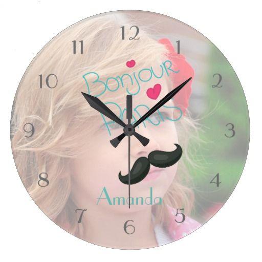 Girls Paris Theme Personalized Add Photo Wall Clock