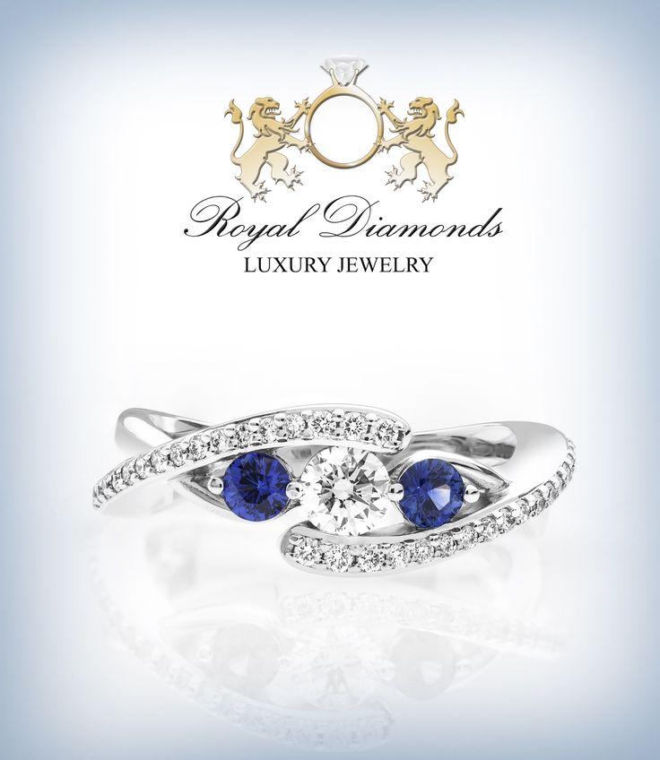 Inele cu diamante si safire albastre superbe!