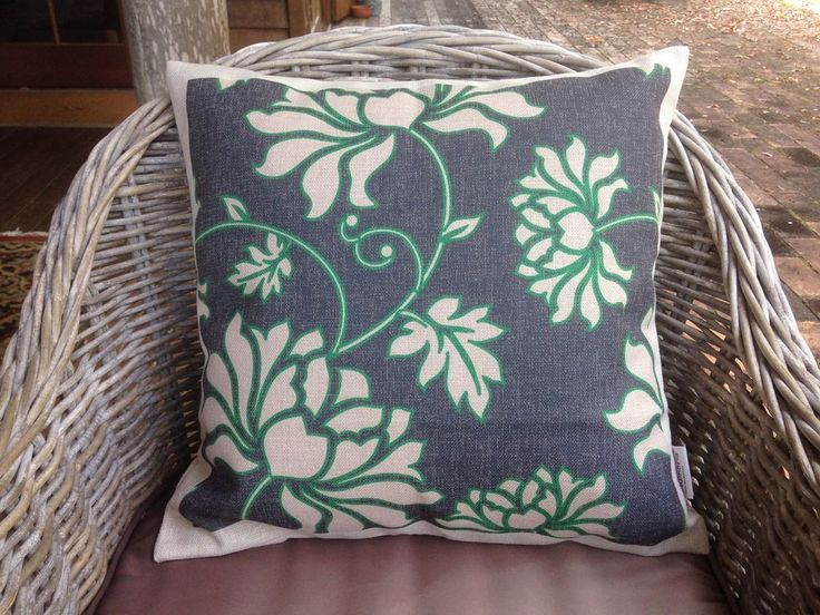 Cotton Linen Blend Cushion Cover Pillow Shell Floral Green & Black 45cm x 45cm $30