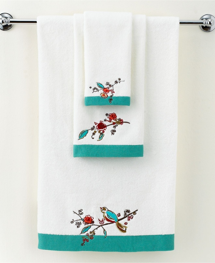 """Lenox Simply Fine Bath Towels, Chirp Embroidered 16"""" x 28"""" Hand Towel"""