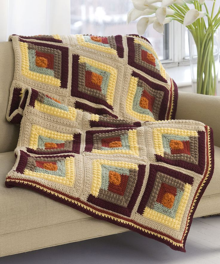 Autumn log cabin throw tejido pinterest manta for Log cabin portici e ponti