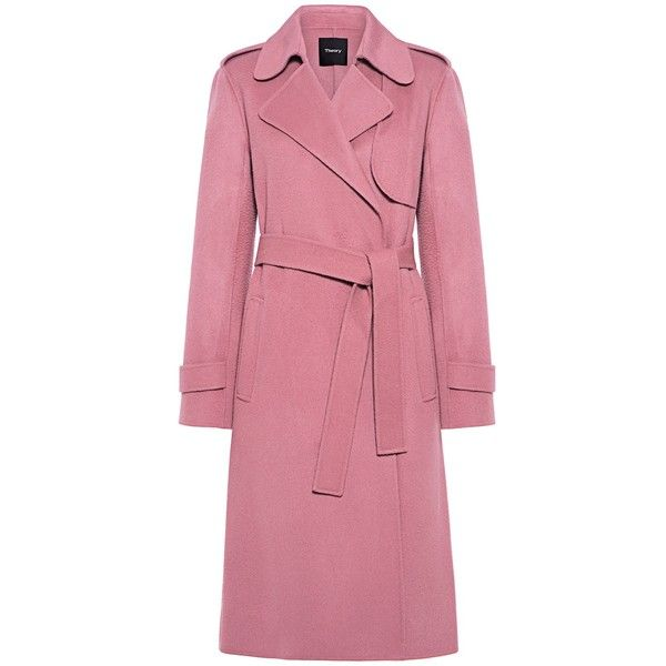 Theory - Wool-Cashmere Trench Coat ($795) ❤ liked on Polyvore featuring outerwear, coats, coats & jackets, wool trench coat, cashmere coat, woolen coat, pink cashmere coat and theory coat