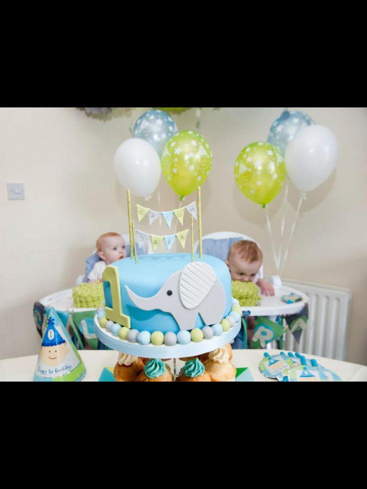 Cute Boy Girl 1st Birthday Party Color Scheme Grey Green