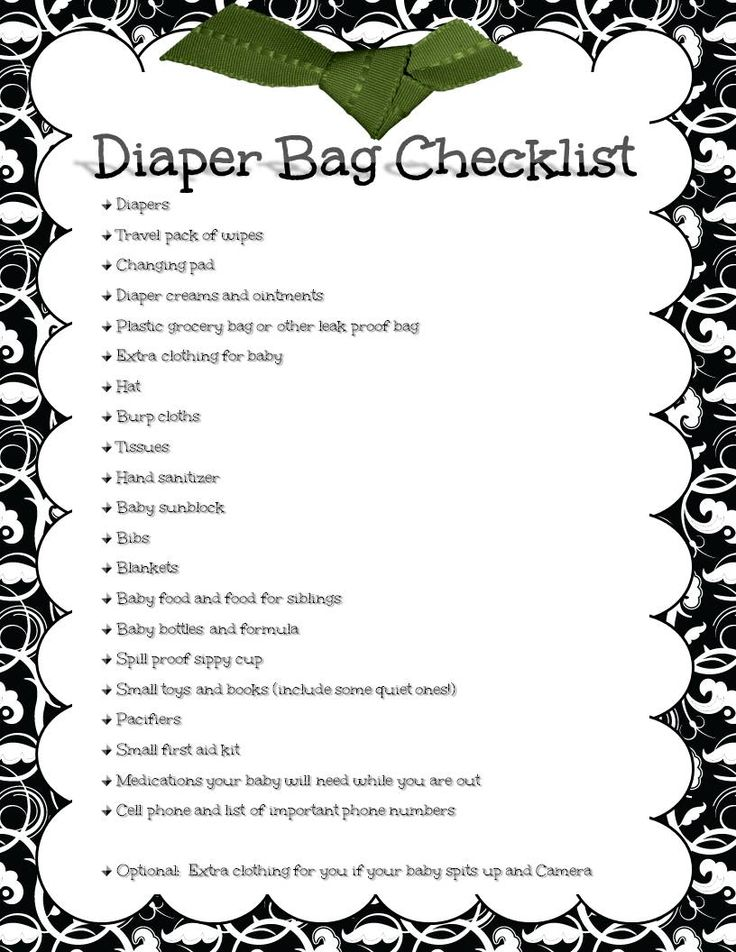 Basic things to cover when packing your diaper bag