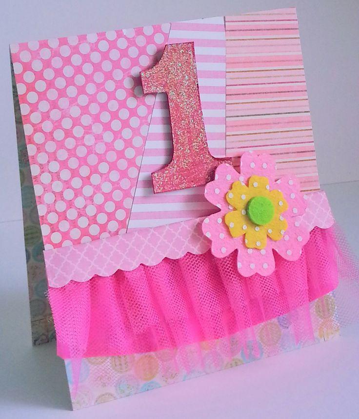 biglietto primo compleanno 1 anno bambina in tulle e glitter : Biglietti di chiara-scrapchic