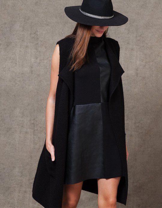 Leather-look combined dress - DRESSES - WOMAN | Stradivarius Czech Republic
