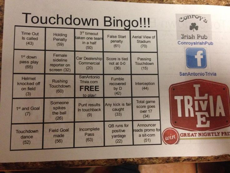 Play our NEW Football Bingo every Monday during the MNF game. Get a bingo & wish cash money baby! Be sure to pick up one of our Football Frequent Flyer cards too & you could earn a FREE meal on us. Double punches on Mondays. #footballbingo