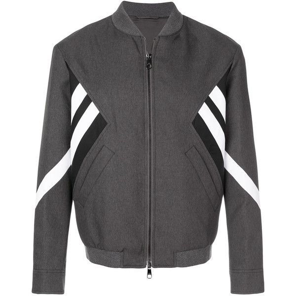 Neil Barrett Modernist bomber jacket (2,055 CAD) ❤ liked on Polyvore featuring men's fashion, men's clothing, men's outerwear, men's jackets, grey, mens grey jacket, neil barrett men's jacket, mens gray leather jacket, mens bomber jacket and mens grey bomber jacket