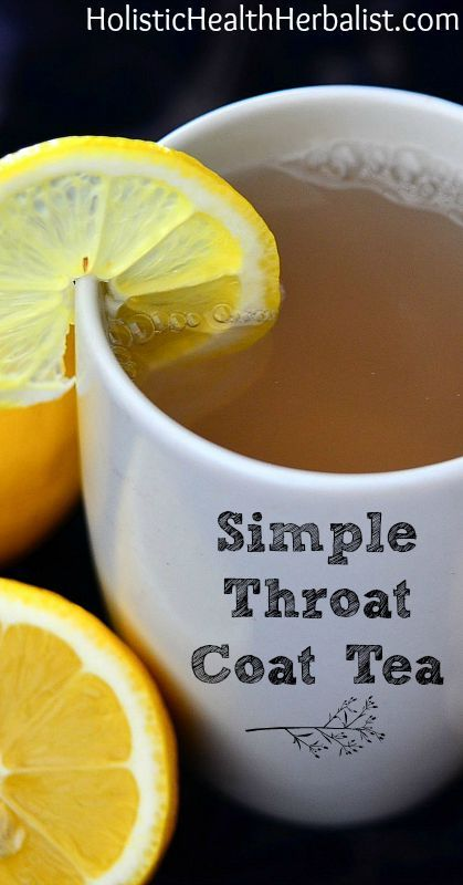 Simple Throat Coat Tea - This tea is soothing for even the worst sore throat. Slippery elm coats while garlic and ginger get to work healing. It's my go to tea for all colds and flu. #health #wellness #sorethroat #throatcoattea #tea