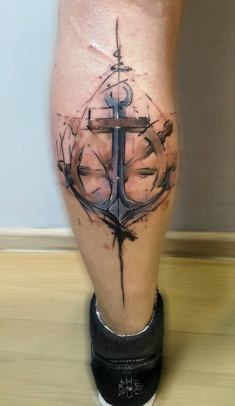 Abstract Watercolor Anchor Tattoo by Anton