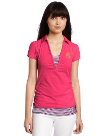 Southpole Juniors Striped Accent Twofer Polo Shirt, Shock Pink, X-Large Southpole. $16.99