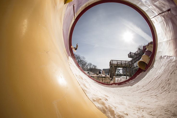 Snowboarding in an Empty Waterpark
