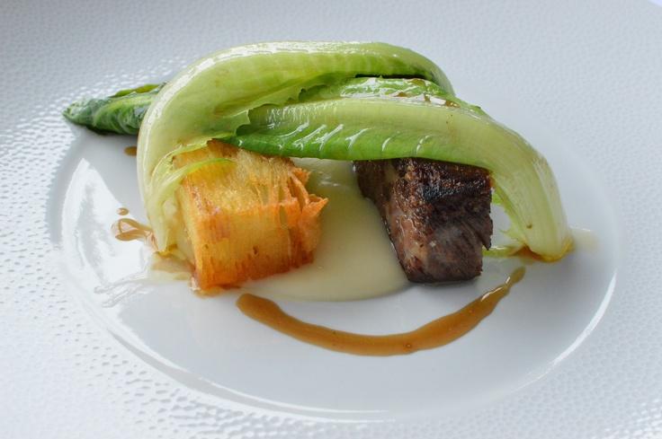 Slow cooked rib of beef, potato terrine & braised cos